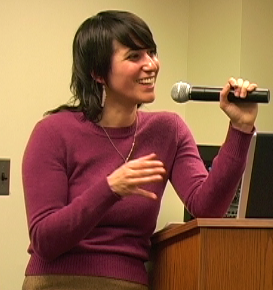 "Author Sara Marcus speaks at the University about her book ""Girls to the Front"""