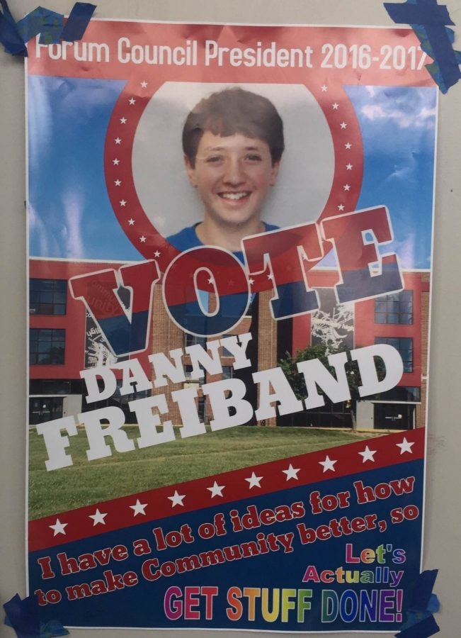 A+poster+of+presidential+candidate+Danny+Freiband+on+a+CHS+hallways+door.%0A
