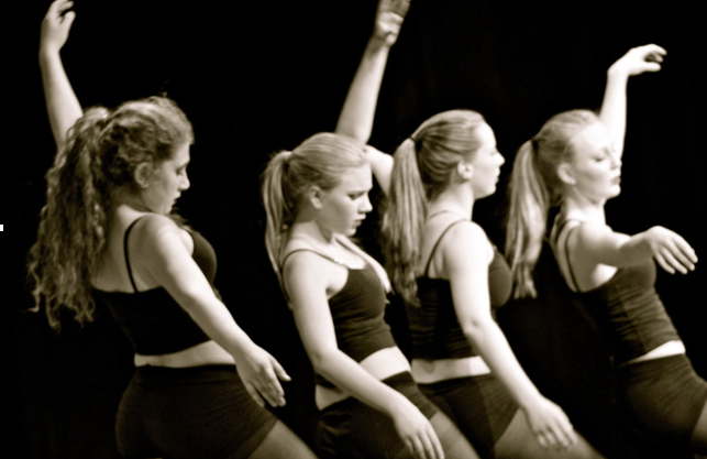 Hannah Chosid, Louisa Judge, Naomi Cutler, and Sofie Sylvester perform a dance in the show.