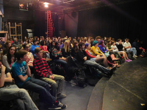 Students at CHS gather in the Craft Theater to listen to Shorts on the Ledge instead of regularly scheduled forum