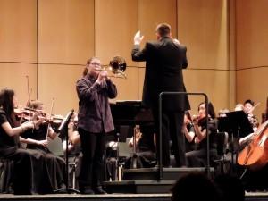 "Halley Bass, who played Launy Grondahl's ""Concert Pour Trombone et Piano ou Orchestre"""