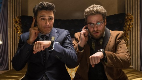 "James Franco and Seth Rogen pose in ""The Interview""."
