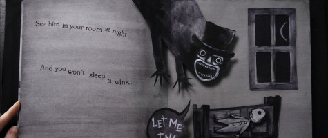 Pages from the Babadook children's book.