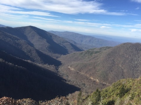After making the hands-and-knees climb, hikers are rewarded with unparalleled, high altitude views of the Appalachian mountain range. The road to Gatlinburg, the town at the entrance of the national park, can be glimpsed in the distance.