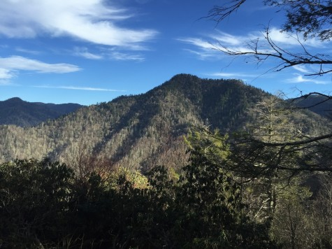 The view of Mount LeConte from the Chimney Tops trail, a 3.8 mile round trip that climbs to nearly the same elevation in about half the time.