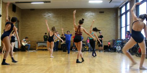 Community High's Dance Body and Jazz Band taking a class from Domingo Estrada, a dancer in Mark Morris Dance Group