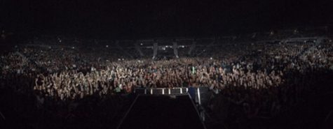 A view of the audience from the stage taken by Mitch Grassi during a stage setup.