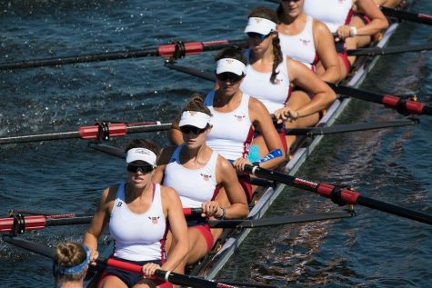 Junior Worlds eight line up, Kate Burns in fourth seat from front.