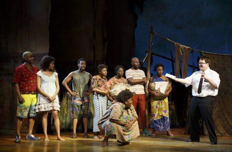 Elder Cunningham with Mafala (Sterling Javis), Nabulungi (Candice Quarrels) and Ensemble.
