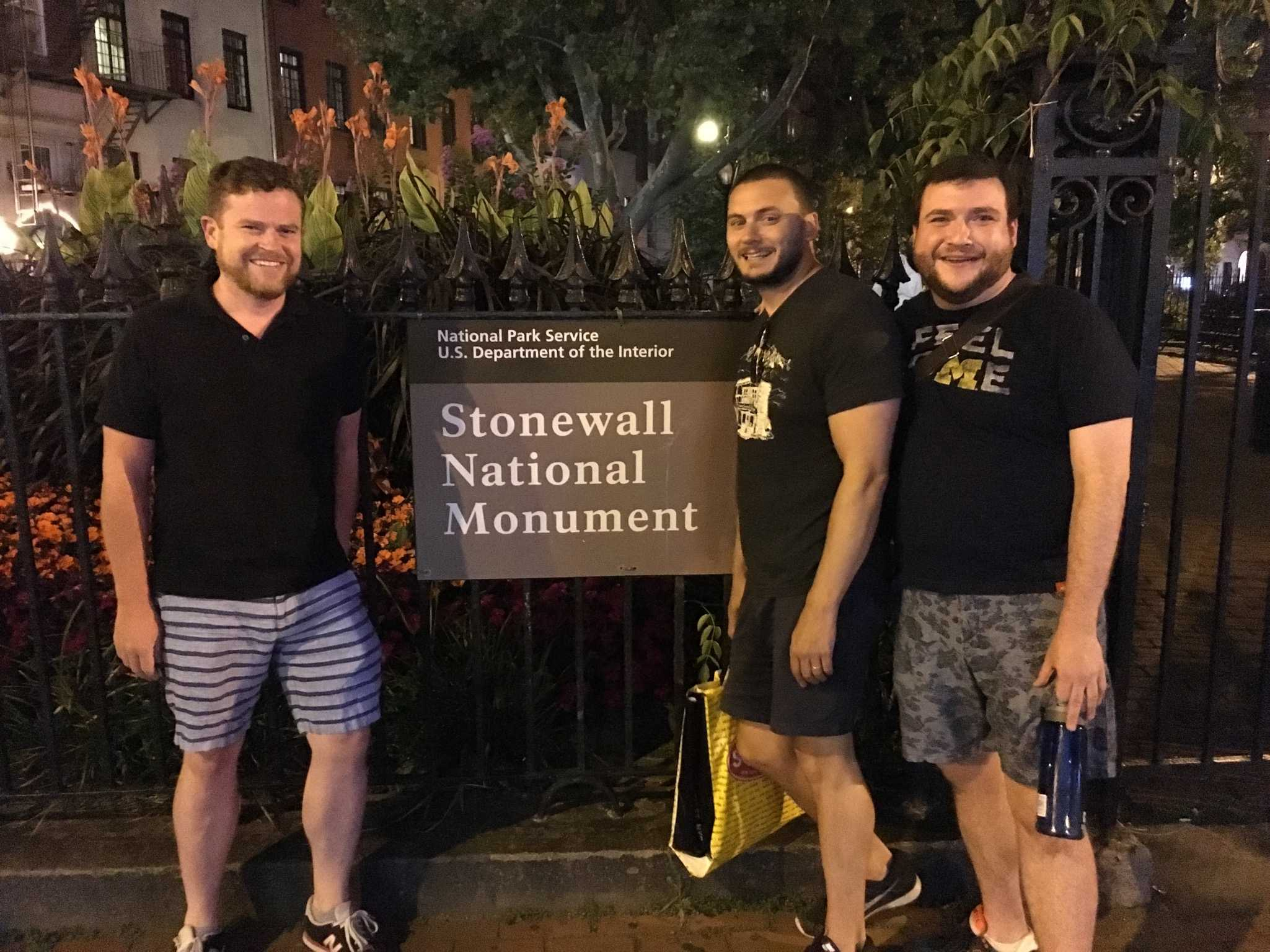 Gallagher (left) with two friends soon after President Obama designated the Stonewall National Monument, which commemorates the birth of the modern gay civil rights movement.